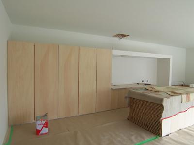 施工中の造作キッチン