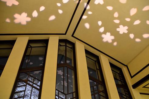 自由学園明日館の室内夜景と夜桜