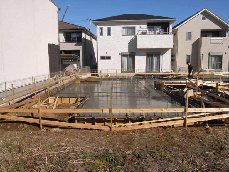 住宅基礎のコンクリート打設完了