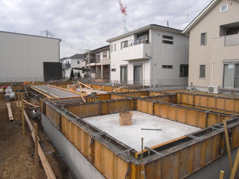 住宅基礎立上りのコンクリート打設完了