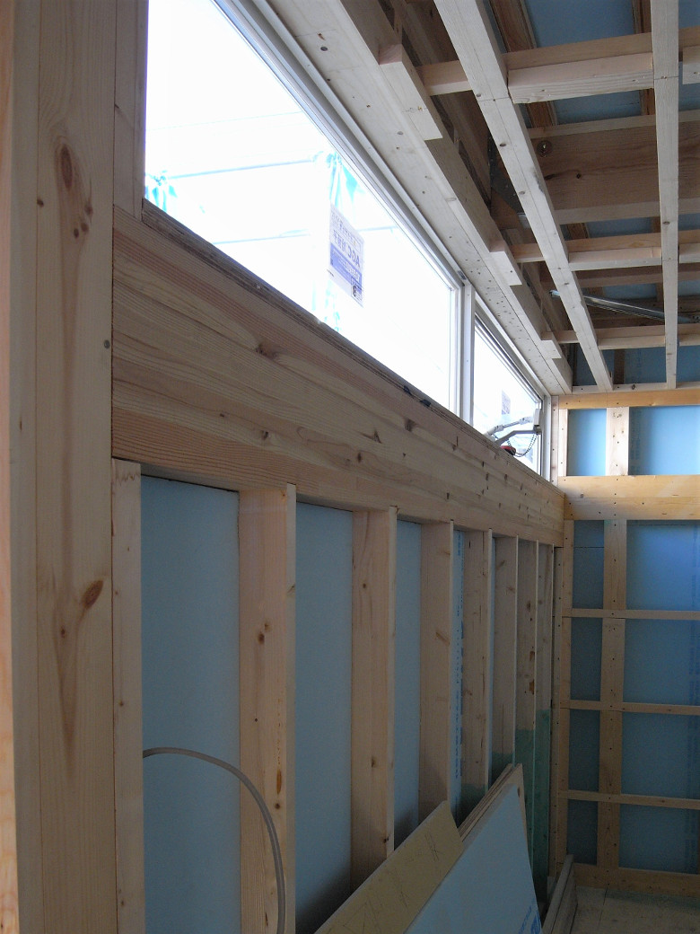 アルミサッシ の取付完了。石膏ボード張りを開始 | ゆめみ野の家